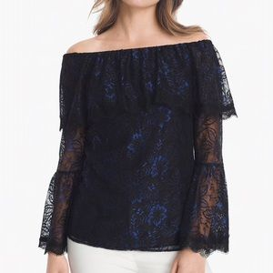 WHBM OFF SHOULDER LACE TOP